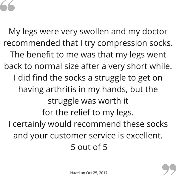 Hazel's feedback on her TXG diabetic compression socks