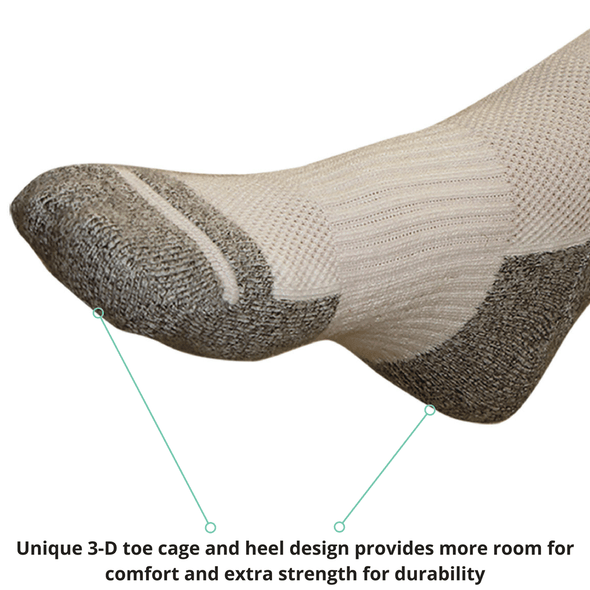 TXG Diabetic circulation sock product details are embroidered onto the sole of the sock