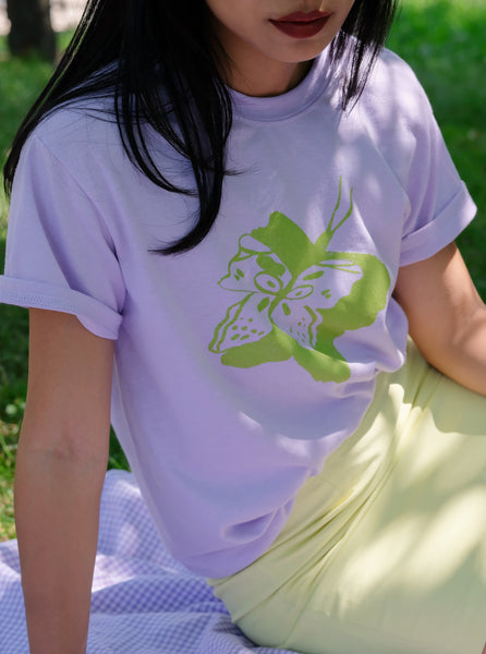 SMALL chartreuse butterfly tee