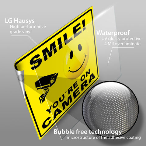 Smile You're On Camera Sticker Signs