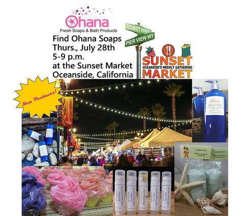 Find us at the Sunset Market and check out Ohana Soaps new products made to love your skin!