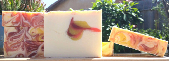 Leave your worries behind with Ohana Soaps Carlsbad Sunrise soap with its tropical blend of passion fruit, blooming jasmine, sugared citrus and exotic florals.
