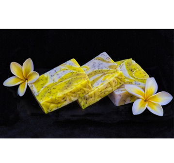 Pucker up to sparkling splashes of Ohana Soaps' citrus delight. This soap's fragrance offers luscious accords of juicy lemon, brisk tangerine, a zing of grapefruit and a hint of white musk.