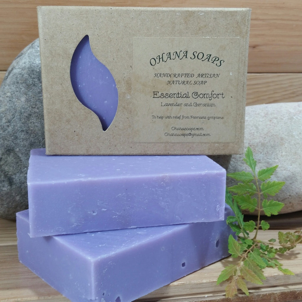 Relax with Ohana Soaps' 100% natural handcrafted Lavender and Geranium soap. Let the gentle aroma of lavender and geranium essential oils soothe mind, body and soul. Soak in the added moisture from avocado oil, sweet almond oil and shea butter that seems to wash away time itself.