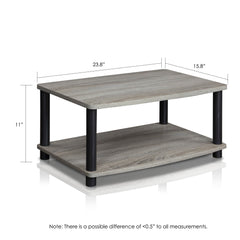 Furinno 2-Tier Elevated TV Stands 13191GYW/BK