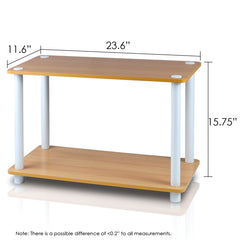 Furinno 11250-SET-BE Turn-N-Tube 2-Tier Shelves/End Tables Set, Beech/White, 2 Pcs Set