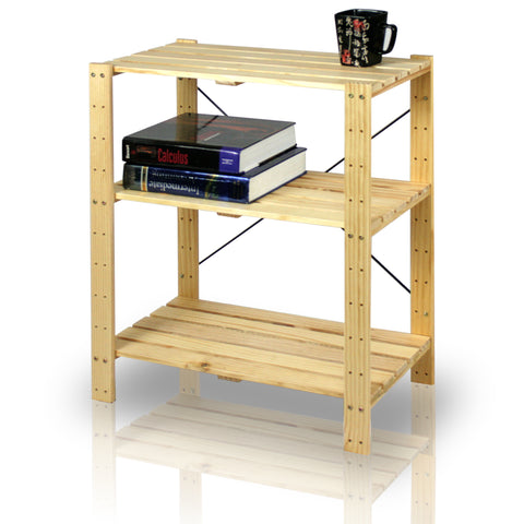 Furinno Pine Solid Wood 3 Tier Shelf FNCJ-33013