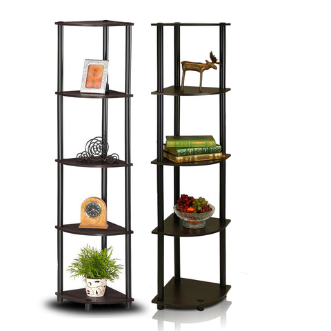 Furinno 5-Tier Corner Multipurpose Display Shelves 2-99811EX/BK SET OF 2