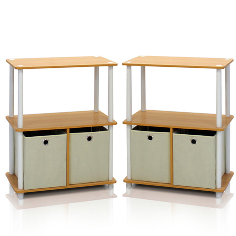 Furinno 2-99152BE Go Green 3-Tier 2-Bins Multipurpose Storage Shelf, Set of Two