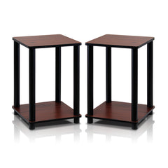 Furinno 2-99800RDC Turn-N-Tube End Table Corner Shelves, Set of 2