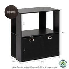 Furinno 13233EX/BK Simplistic 2-Tier Organizer with Bin Drawers, Espresso/Black