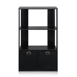 Furinno 13234EX/BK Simplistic 3-Tier Organizer with Bin Drawers, Espresso/Black