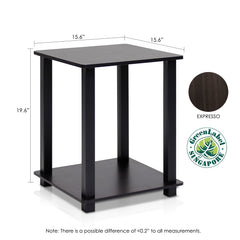 Furinno 12127EX/BK Simplistic End Table, Set of Two, Espresso/Black