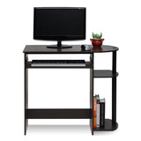 Furinno 14098R1DBR/BK Simplistic Easy Assembly Computer Desk, Dark Brown