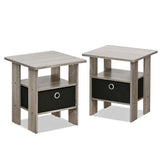 Furinno End Table Nightstand 2-11157EX SET OF 2