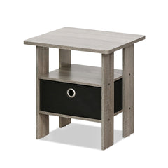 Furinno Petite End Table Bedroom Night Stand, French Oak Grey (11157GYW/BK)