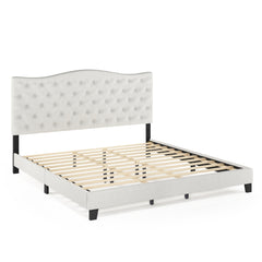 Furinno Button Tufted Bed Frame FB18011K-BG