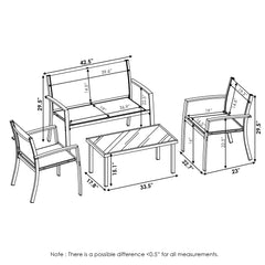 Furinno Outdoor Dining Set FG180907GY/BK