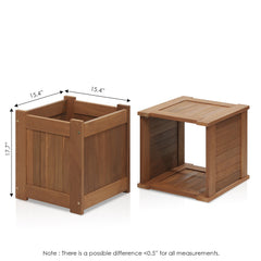 Furinno Tioman Hardwood Flower Box in Teak Oil, Pack of 2 (2-FG16450)