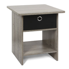 Furinno 10004GYW/BK End Table Night Stand with Bin Drawer, French Oak Grey/Black (10004GYW/BK)