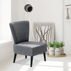 Furinno Euro Modern Armless Fabric Accent Chair, Dark Grey(SF201N26DGY)