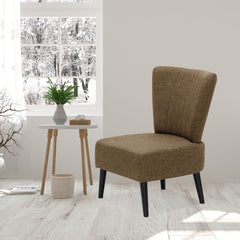 Furinno Euro Modern Armless Fabric Accent Chair, Brown(SF201N26BR)