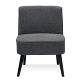 Furinno Retro Vintage Fabric Accent Chair, Dark Grey (SF201N17DGY)