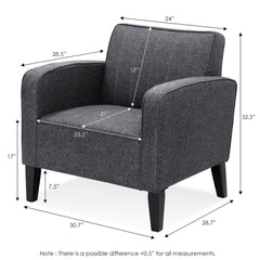 Furinno Euro Classic Upholstered Arm Accent Chair, Dark Grey(SF103N5DGY)