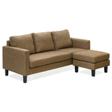 Furinno Chaise Sectional Sofa with Ottoman SF358N1BR