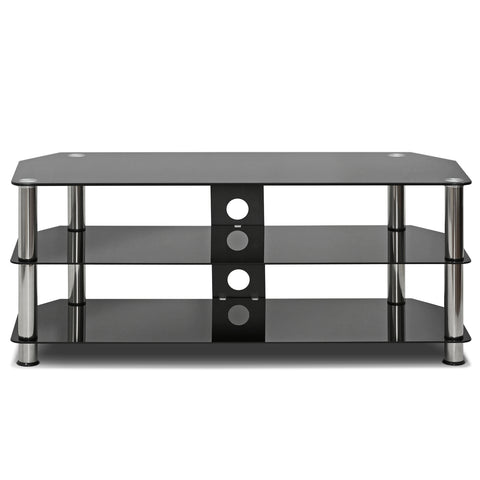 Furinno Silk Screen Glass TV Stand, Black (FRL16M3BK)