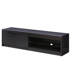Furinno FVR Entertainment Center with 2 Doors and Glass Shelf, Wenge (FVR1707WG)