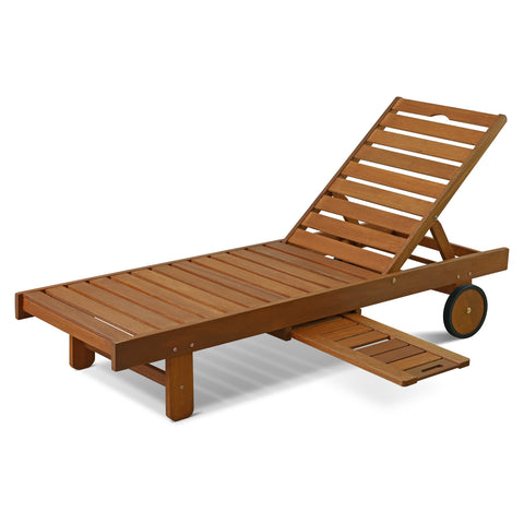 Furinno Tioman Outdoor Hardwood Sun Lounger with Tray (FG17744)
