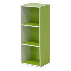 Furinno Pasir 3-Tier Open Shelf Bookcase, White/Green (11003WH/GR)