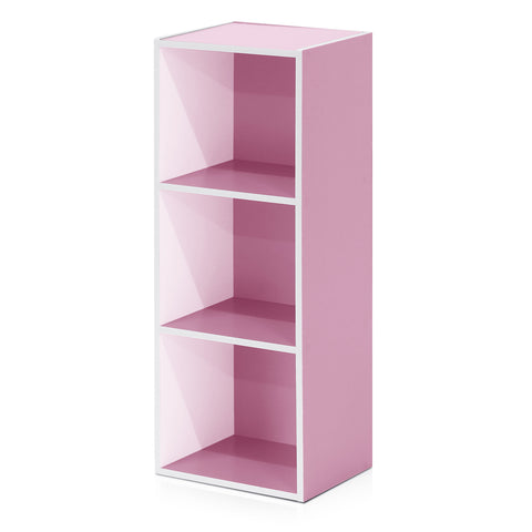 Furinno 3-Tier Open Shelf Bookcase, White/Pink (11003WH/PI)