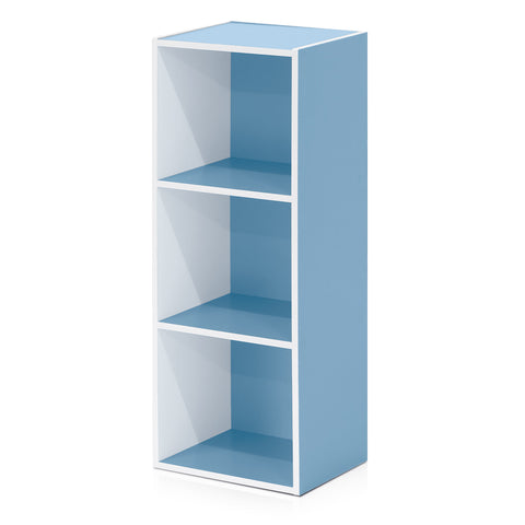 Furinno 3-Tier Open Shelf Bookcase, White/Light Blue (11003WH/LBL)