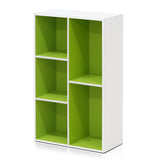 Furinno 5-Cube Reversible Open Shelf, White/Green (11069WH/GR)