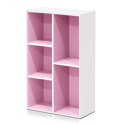 Furinno 5-Cube Reversible Open Shelf, White/Pink (11069WH/PI)