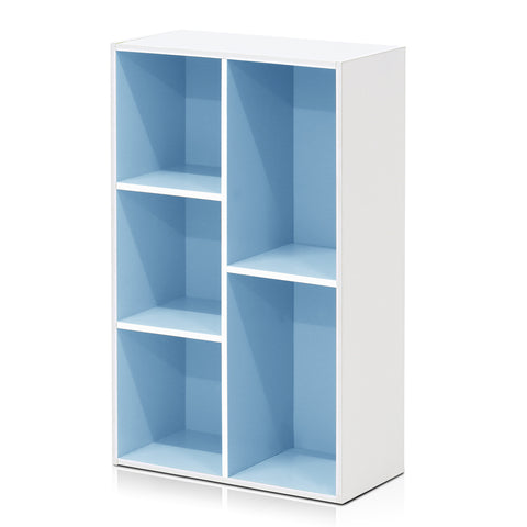 Furinno 5-Cube Reversible Open Shelf, White/Light Blue (11069WH/LBL)