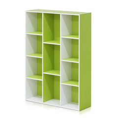 Furinno 11-Cube Reversible Open Shelf Bookcase, White/Green (11107WH/GR)