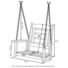 Furinno Single Hanging Porch Swing with Chain FG18414SC