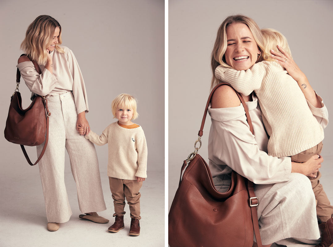 Abbylee Bonny wearing Bex handbag in chestnut with son Cas for Saben Mothers Day campaign