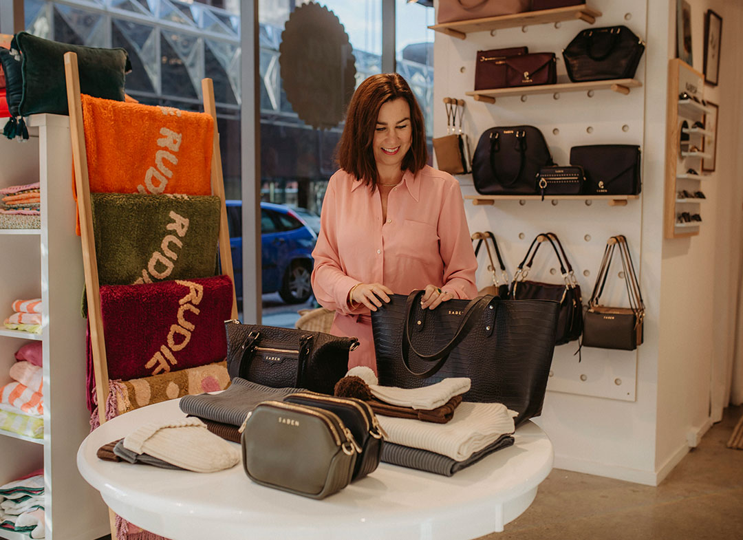 Saben catch up with tea pea home for q+a talking about handbags and business