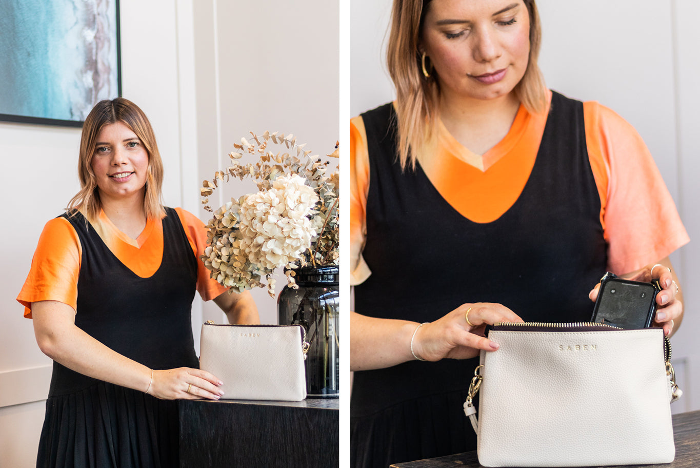 Zoe Clark founder of Inco Studios with Tilly Crossbody in Chalk