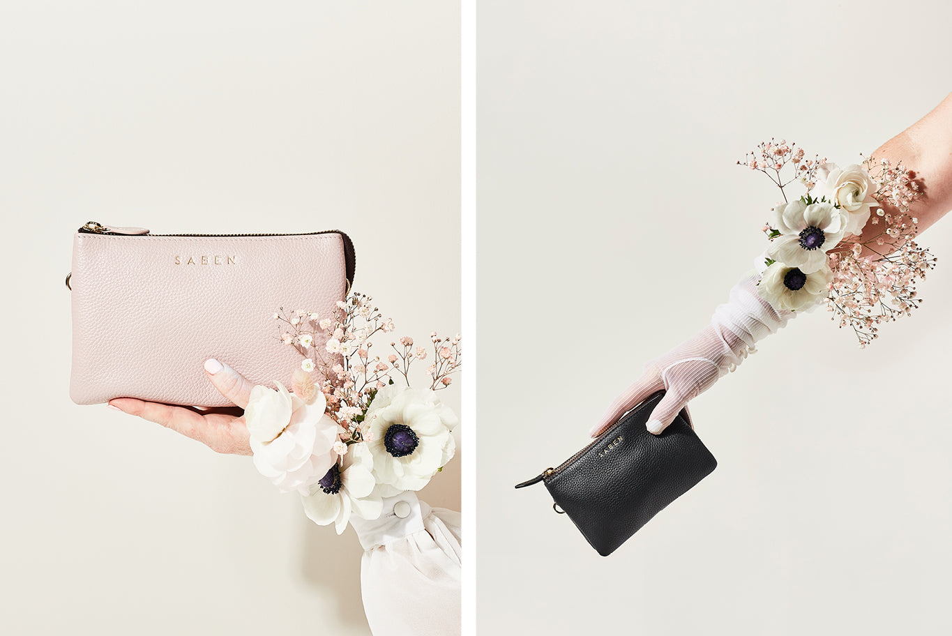 Saben Launch Bridal Collection of Ballerina pale pink leather clutch purse handbag