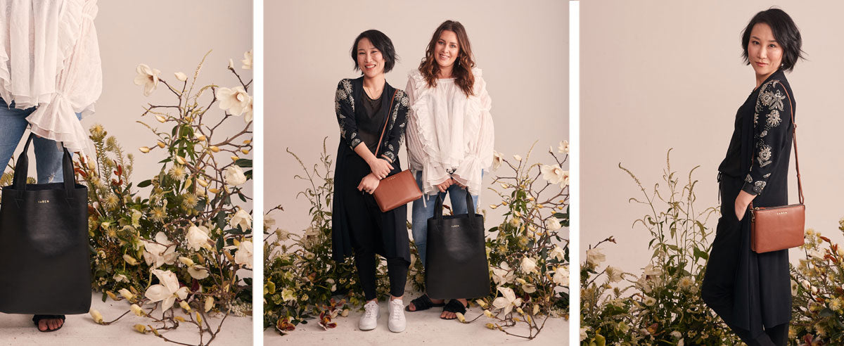 Eden Kersten and Diana Pen of the Botanist wear Saben handbags Till'ys Big Sis Chestnut and Juno