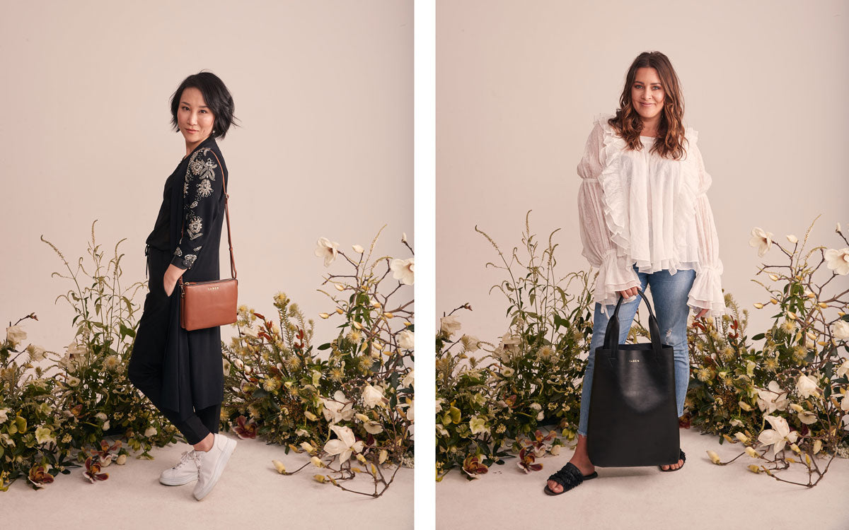 Diana Pen from the Botanist wears Saben Tilly's Big Sis Chestnut Eden Kersten wears Saben JunoTote