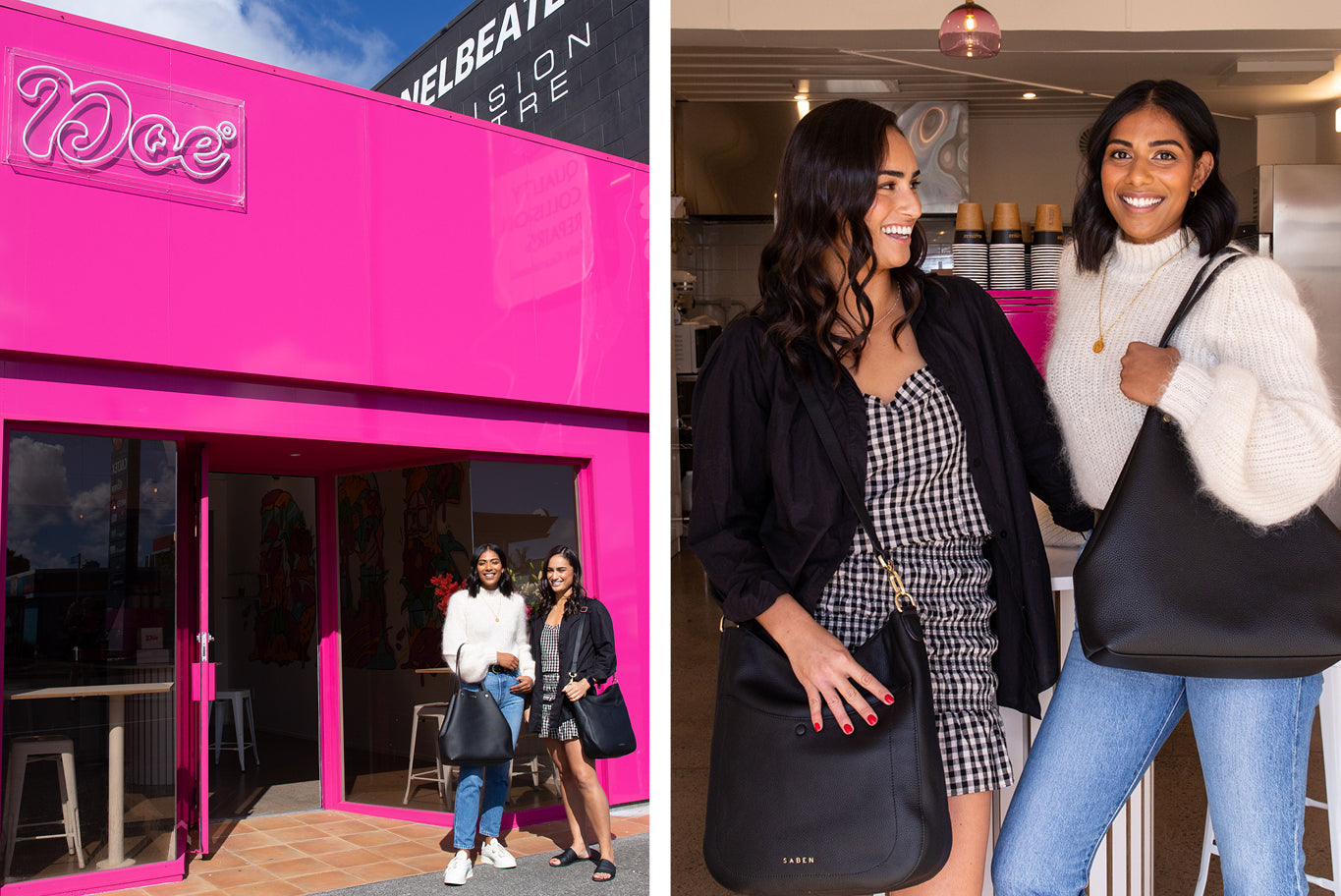 A split image of the doe donuts shop and then grace and shenine standing beside each other wearing Saben Handbags