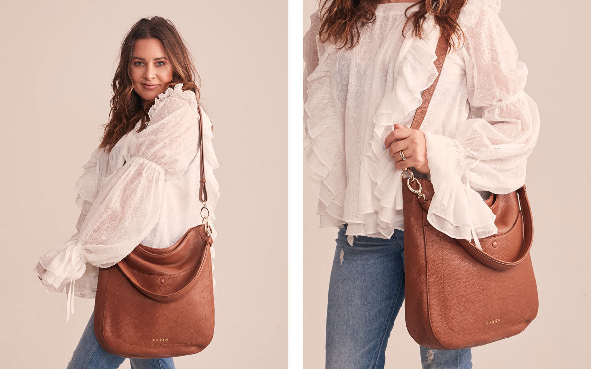 Eden Kersten from The Botanist wears Saben Bex handbag in chestnut tan leather