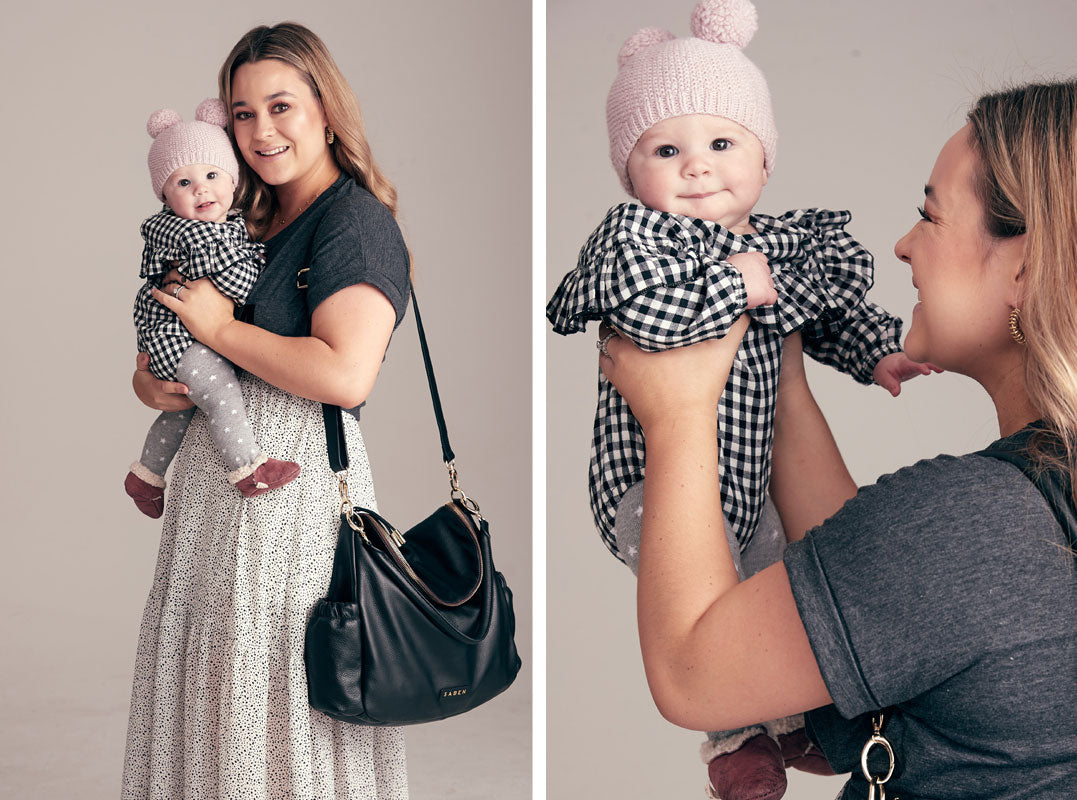 Fiona Wright and daughter Billie for the Saben Mothers Day campaign wearing new Freddie handbag