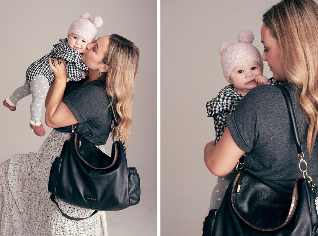 Fiona Wrighte for Saben Mothers Day campaign wearing New Freddie nappy bag